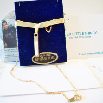 Vintage Mother of Pearl Linear Pendant Necklace Shell Jewelry NOS Retro