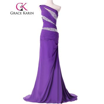 2017 New Grace Karin Designer One shoulder Chiffon Sequins Long Formal Evening Dresses Yellow Purple Blue Dinner Party Gown 4971