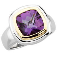 Sterling Silver & 14kt Yellow Checkerboard Amethyst Ring