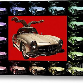 Mercedes 300sl Gullwing . Front Angle Artwork Metal Print