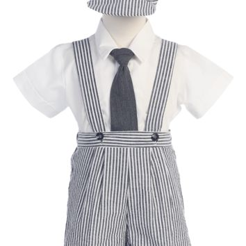 Striped Charcoal Grey Cotton Seersucker Boys Suspender Shorts Set 6M-4T