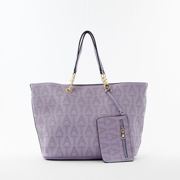 Perforated Double Bag Tote in Lilac