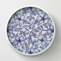 Indigo Summer - a hand drawn floral pattern Wall Clock by Micklyn