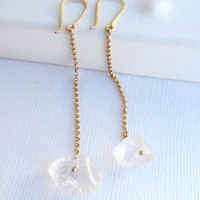 Raw quartz crystal earrings with gold filled chain and earwires, gold long dangle earrings.
