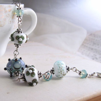 Beach Dreams Lampwork glass bracelet silver blue by shadowjewels