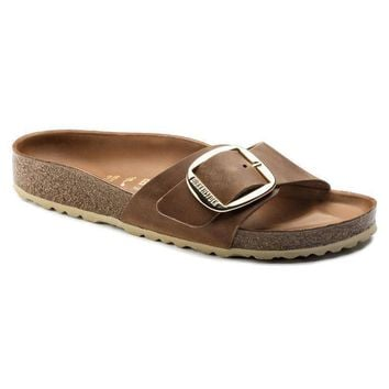 Sale Birkenstock Madrid Big Buckle Oiled Leather Cognac 1006525 Sandals