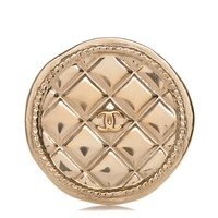 CHANEL Quilted CC Brooch Pin Gold