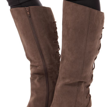 Taupe Overlay Boot with Lace Up Back