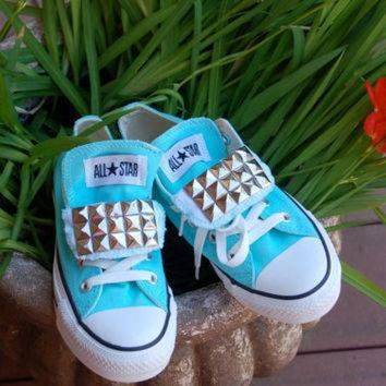 DCCKHD9 Tiffany Blue Studded Converse - Low Top Chucks