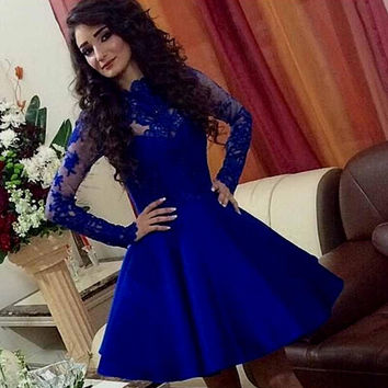 Long Sleeve Prom Dresses,Royal Blue Prom Dress,Long Evening Dress