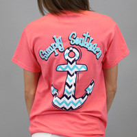 Simply Southern Tee - Coral Chevron Anchor
