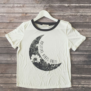 Positive Vibes Floral Moon Tee