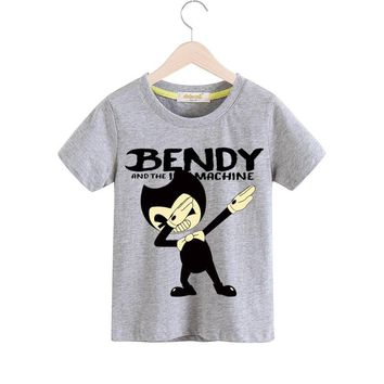 Kids Cartoon Dab Bendy Print T-shirts Clothes Boys Tees Tops Costume Girls T Shirt Clothing Children Summer Tshirt Baby TX123