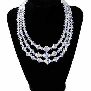 Vintage Aurora Borealis Diamond Cut Crystal Necklace Triple Strand 1950S