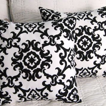 Black and White Print Damask Print Pillow by DesignsByNancyT
