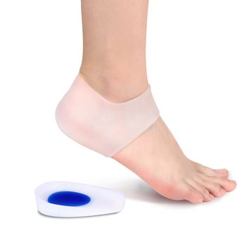Gel Heel Cups Inserts and Compression Heel Sleeves Socks, Foot Ankle Pain Relief for Plantar Fasciitis Spurs Pads Cracked Heels Achilles