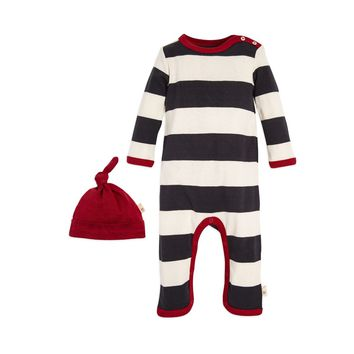 Rugby Stripe Organic Baby One Piece Jumpbee & Hat