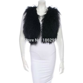 SJ209-01 2016 Newest Arrival Fashion Real Fur Vest Hot Sale Mongolian Sheep Fur Vest
