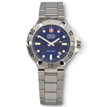 Wenger 79178 Men's Swiss Military SeaForce Blue Dial Stainless Steel Dive Watch