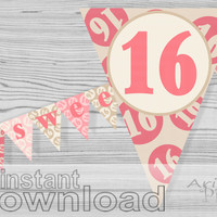 Sweet 16 printable banner, quinceanera, pink, cream, birthday party decoration, sweet sixteen, girly 16th birthday, PDF fileinstant downloa