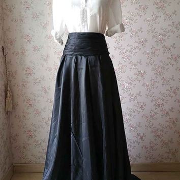 New Chic Black Maxi Skirt. Pleated Maxi Skirt with pocket. High Low Full Length Skirt. Party Skirt. Full Skirt with tail. Women Long Skirt