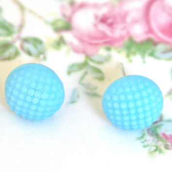 Vintage Aqua Blue Round Hobnail  Quilted Textured Bumpy Glass Post Earrings - Wedding, Bridal, Bridesmaids