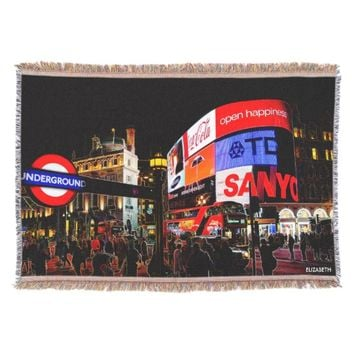 Fantasy Glowing Piccadilly In London At Night Throw Blanket