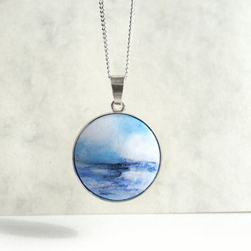 Awesome Tiny Ocean Painting, Sea Necklace, Hand Painted Charm, 925 Sterling Silver Necklace, Original Miniature Painting Necklace by Artdora