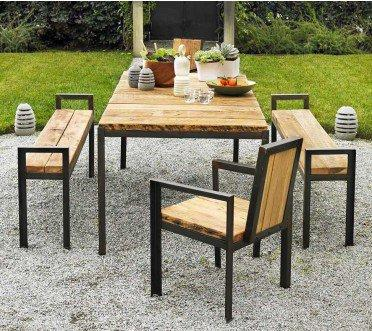 Contempo Reclaimed Wood Outdoor Dining Set - VivaTerra