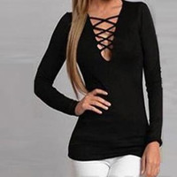 Criss Cross Causal Long Sleeve T Shirt  12334