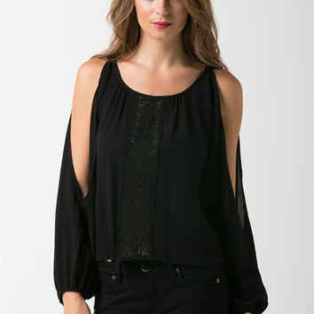 Crinkle Slit Sleeves Top - Black