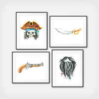 Pirate Poster - Kids Pirate Room Decor - Boys Bathroom Art - Pirate Bathroom Signs - Boys Bathroom Decor - Nautical Bathroom - Set of 4