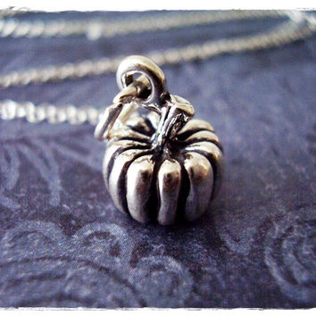 Silver Pumpkin Necklace - Sterling Silver Pumpkin Charm on a Delicate 18 Inch Sterling Silver Cable Chain
