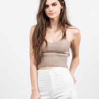Knit Cropped Cami - Mocha