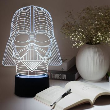 Amazing 3D Illusion Star led Table Lamp Night Light with darth vader decorations star wars lamp FS-2833