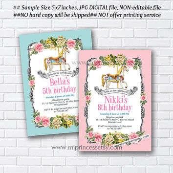 Carousel invitation, Merry go round birthday , pony vintage design for girl 1st 2nd 3rd 4th 5th 6th 7th 8th 9th 10th  circus - card 879