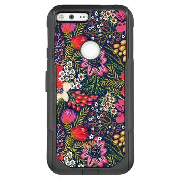 Vintage Bright Floral Pattern Fabric OtterBox Commuter Google Pixel XL Case