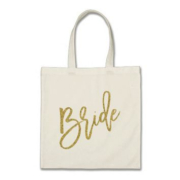 Bride Gold Glitter Script Tote Bag