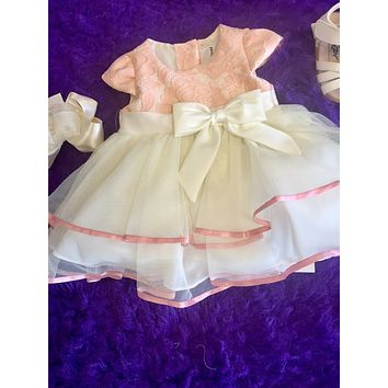 Rare E Easter Peach Tafta Cheffon Baby Dress