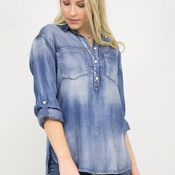 Denim Halfway Button Down Pull Over Top