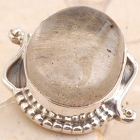 Golden Rutile Quartz Ring in 925 Sterling Silver