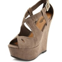 Sueded Cutout Peep-Toe Wedge: Charlotte Russe