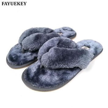 FAYUEKEY 15 Colors Fashion Spring Summer Winter Home Cotton Plush Slippers Women Indoor\ Floor Flip Flops Flat Shoes Girls Gift