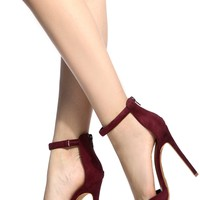 Wine Faux Suede Ankle Strap Pointed Toe Pumps @ Cicihot Heel Shoes online store sales:Stiletto Heel Shoes,High Heel Pumps,Womens High Heel Shoes,Prom Shoes,Summer Shoes,Spring Shoes,Spool Heel,Womens Dress Shoes