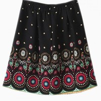 Vintage A-line Skirt With Multi Circle Pattern - Choies.com
