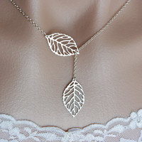 Matte silver fall leaves lariat necklace in Sterling by DelicacyJ