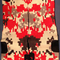 Digital Camo Red Grey Black Full Cover Custom Nike Elite Socks