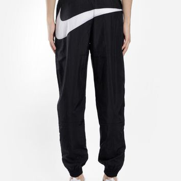 Nike Fashion Women Men Loose Hip Big Logo Print Pant Foot Double Zipper Drawstring Sport Stretch Pants Trousers Sweatpants Black I-AA-XDD