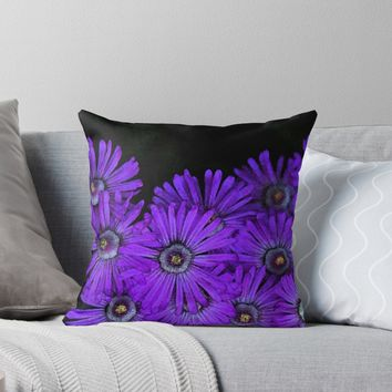 'Purple succulent flowers watercolor effect' Throw Pillow by Anna Lemos