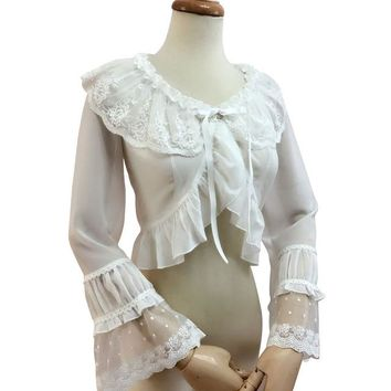 Sweet White Lolita Blouse Girl's Long Flare Sleeve Shrug Top Three Colors (White, Beige, Black)